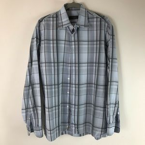 Canali Mens Size Large Blue Plaid Button Shirt